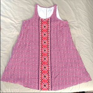 CROWN & IVY Pink Geometric Sleeveless Dress Size S